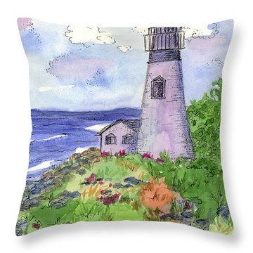 Throw Pillow featuring the painting Lighthouse In Summer  by Cathie Richardson
