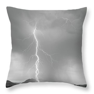 Lightning Strike Colorado Rocky Mountain Foothills Bw Throw Pillow by James BO  Insogna