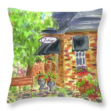 Throw Pillow featuring the painting Lila's Cafe by Cathie Richardson