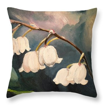 Lily Whites Throw Pillow by Renate Nadi Wesley