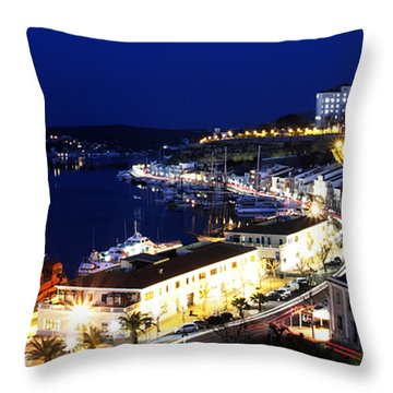 Throw Pillow featuring the photograph Mahon Harbour At Night by Pedro Cardona
