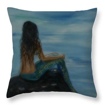 Mermaid Mist Throw Pillow by Leslie Allen