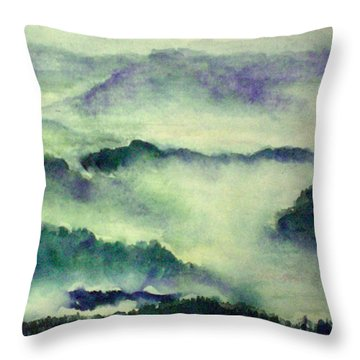 Throw Pillow featuring the painting Mountain Oriental Style by Yoshiko Mishina