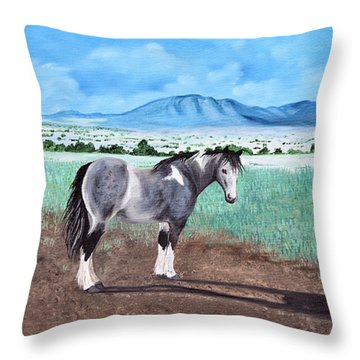 Mountain Pony Throw Pillow by Jan Amiss
