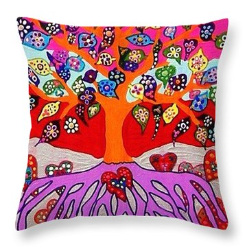 My Heart Flowers For You Throw Pillow by Sandra Silberzweig