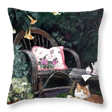 Throw Pillow featuring the painting My Secret Garden by Mary-Lee Sanders