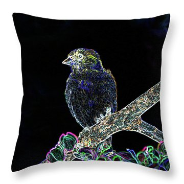 Neon Goldfinch Throw Pillow by Betty LaRue