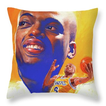 Throw Pillow featuring the painting Nick Van Exel by Cliff Spohn