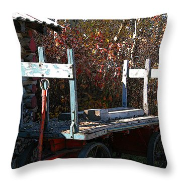 Throw Pillow featuring the digital art Old Wagon by Stuart Turnbull
