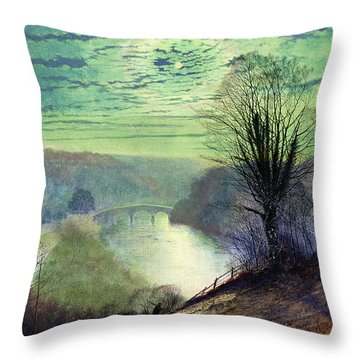 On The Tees Near Barnard Castle Throw Pillow by John Atkinson Grimshaw