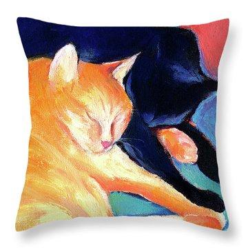 Orange And Black Tabby Cats Sleeping Throw Pillow by Svetlana Novikova