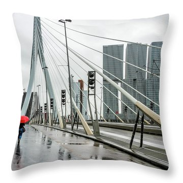 Throw Pillow featuring the photograph Over The Erasmus Bridge In Rotterdam With Red Umbrella by RicardMN Photography