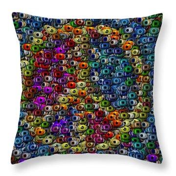 Peace Sign Eyeball Mosaic Throw Pillow by Paul Van Scott