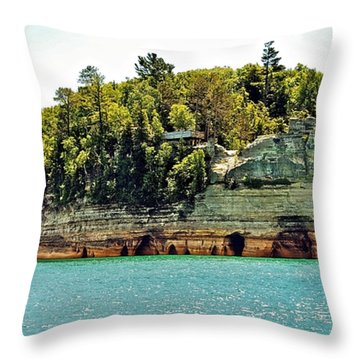 Pictured Rock 6323  Throw Pillow by Michael Peychich
