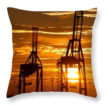 Port Of Charleston Sunset II  Throw Pillow by Dustin K Ryan