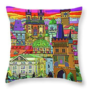 Prague Panorama Old Town Throw Pillow