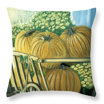 Throw Pillow featuring the pastel Pumpkin Cart In Boerne by Jan Amiss