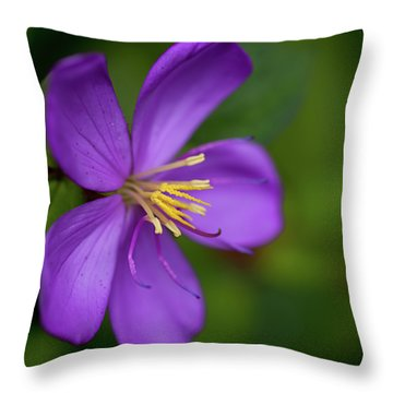 Purple Flower Macro Throw Pillow