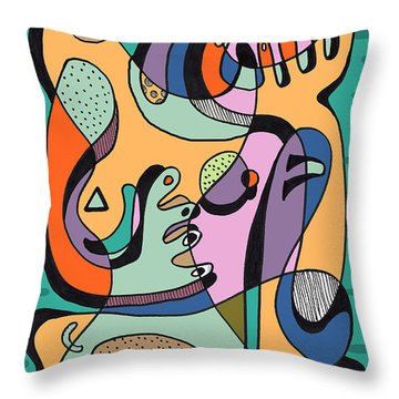 Questionable Nude Throw Pillow by Geoff Greene