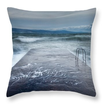 Raging Sea Throw Pillow by Evgeni Dinev
