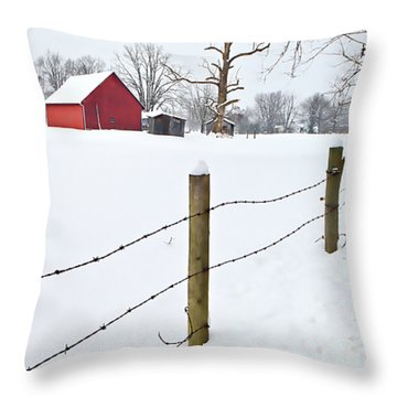 Red Barn And Fresh Snow - D006392a Throw Pillow by Daniel Dempster