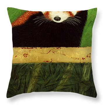 Red Panda And Bamboo Throw Pillow by Jan Amiss