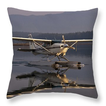 Reflections Of A Float Plane Throw Pillow by Darcy Michaelchuk