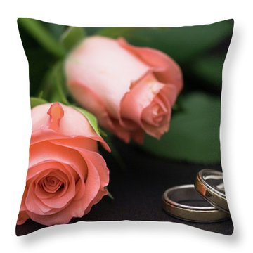 Roses And Rings Throw Pillow