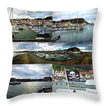 #scarborough #harbour #seaside #sea Throw Pillow