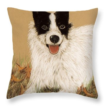 Throw Pillow featuring the pastel Scooter The Jack Russell by Jan Amiss