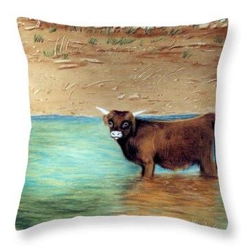 Throw Pillow featuring the pastel Scottish Highland Bull by Jan Amiss