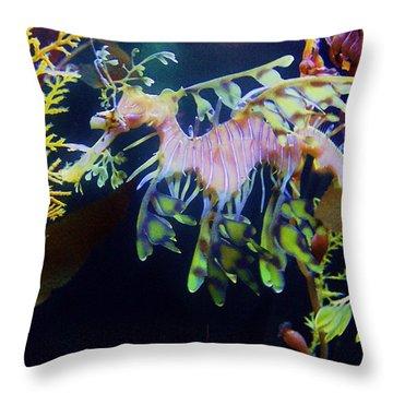 Sea Horse Parade 2 Throw Pillow