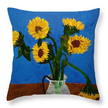 Seven Sunflowers In Vase Throw Pillow