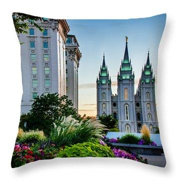 Slc Temple Js Building Throw Pillow by La Rae  Roberts