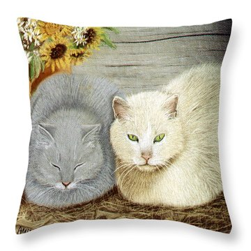 Throw Pillow featuring the pastel Soft And Fluffy by Jan Amiss