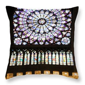 Stained Glass Window Of Notre Dame De Paris. France Throw Pillow by Bernard Jaubert