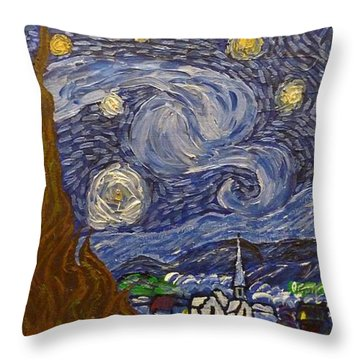 Starry Night - An Ode To Vincent Throw Pillow