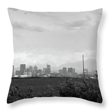 Stormy Day Calgary Cityscape Throw Pillow by Lisa Knechtel