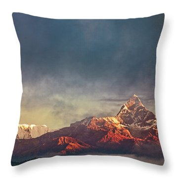 Sunrise On Anapurna Throw Pillow