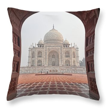 Throw Pillow featuring the photograph Taj Mahal - Color by Stefan Nielsen