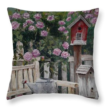 Throw Pillow featuring the painting Take A Seat by Mary-Lee Sanders
