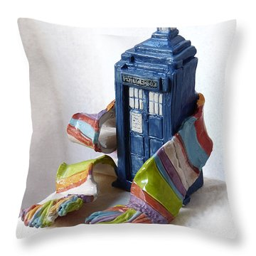 Tardis Ll Throw Pillow by Rhonda Chase