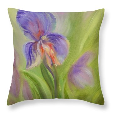 Tennessee Iris Two Throw Pillow by Carol Berning
