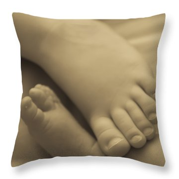 Toes Of Different Size Throw Pillow by Darcy Michaelchuk