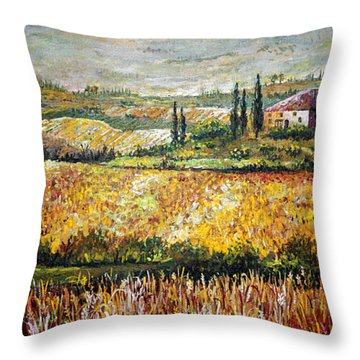Throw Pillow featuring the painting Tuscan Wheat by Lou Ann Bagnall