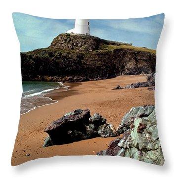 Twr Mawr On Ynys Llanddwyn Throw Pillow
