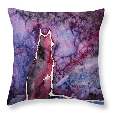 Waiting Throw Pillow by Zaira Dzhaubaeva
