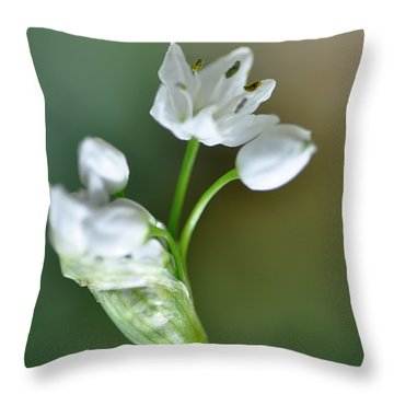 White Blossom 3 Throw Pillow