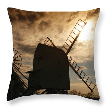 Windmill At Dusk  Throw Pillow by Pixel Chimp