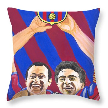 Throw Pillow featuring the painting Xavi And Iniesta by Emmanuel Baliyanga